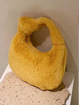 Casual Plush Winter Zipper Handbag For Women