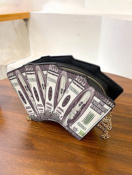 Chic Dollar Printed Chain Shoulder Bag