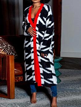 Plus Size V Neck Warm Long Coat