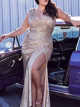 Gorgeous V Neck Sleeveless Sequined Trailing Dress