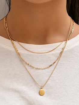 Particular Chain Three Piece Golden Necklaces Set