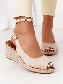 Vintage Peep Toe Summer Wedge Shoes