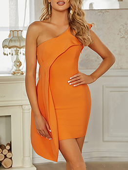Sexy Inclined Shoulder One Piece Dress