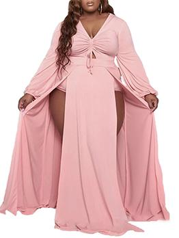 Plus Size V Neck Slit Maxi Dress
