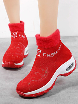 Leisure Letter Women Chunky Soles Slip On Shoes