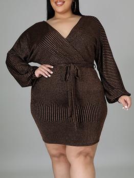 Plus Size Long Sleeve Brown Short Dress