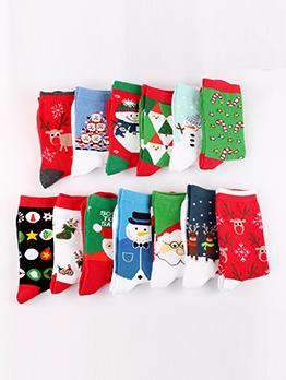 Cute Snowman Elk Christmas Series Full Cotton Mid Socks