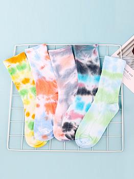 Trendy Tie Dye Easy Match Mid Socks