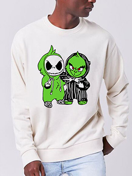 Cartoon Print Crew Neck Plus Size Sweatshirts