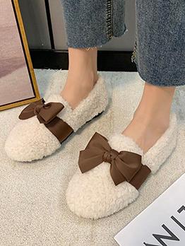 New Plush Bow Round Toe Women Flats