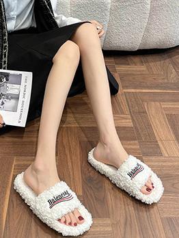 Outdoor Lambswool Round Toe Ladies Slippers