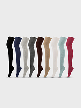 Winter Solid Trendy Korean Style Over The Knee Socks