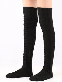 Knitting Solid Winter Extended Floor Staked Socks