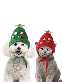 Cute Christmas Headgear Christmas Tree Shape Pet Hat