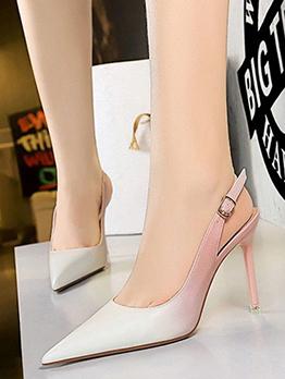 Gradient Color Buckle Strap Slip On Heels