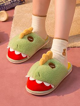 House Contrast Color Dinosaur Slide Slippers
