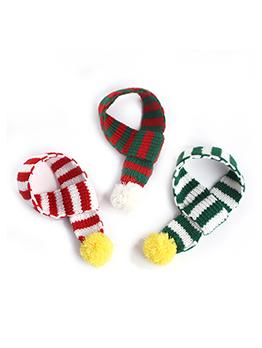 Knitting Contrast Color Ball Pet Christmas Scarf