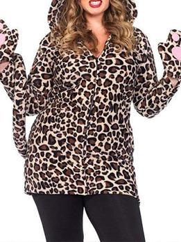 Polar Fleece Leopard Print Autumn Plus Size Coat