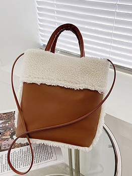Trendy Fuzzy Patchwork Open Vintage Tote Bag