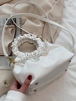 Casual Street Ruched Faux Pearl Handbag