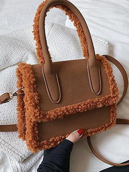 Fuzzy Patchwork Winter Hasp Handbag For Women