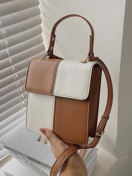 Stylish Contrast Color Patchwork Shoulder Handbag