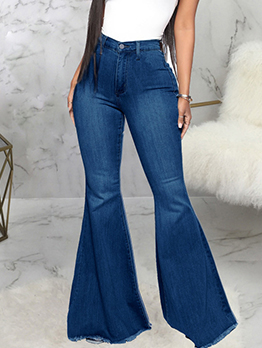 Fashionable Solid Easy Match Flare Jeans