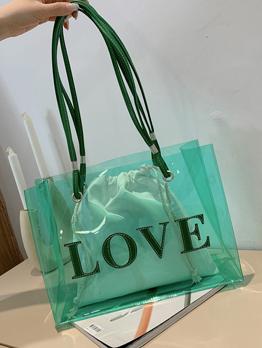 Trendy Online Jelly Letter Tote Bag For Women
