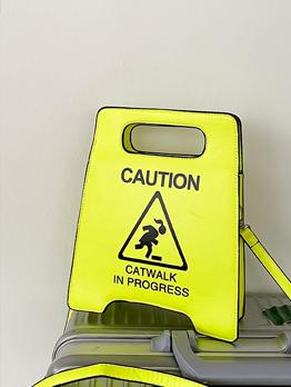 Warning Sign Printed Zipper Shoulder Bag For Women