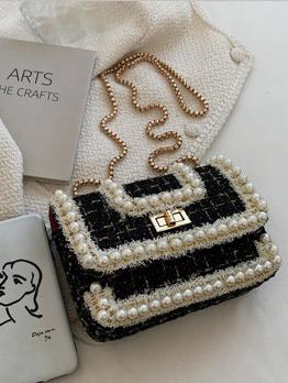 Korean Style Faux Pearl Twist Lock Shoulder Bag