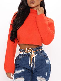 Winter High Neck Long Sleeve Orange Short Sweater