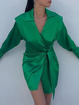 Elegant Solid Turn-Down Long Sleeve Shirt Dress