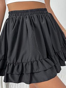 Casual Black Elastic Fly Ruffle Women Skirt