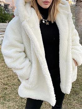 Fashionable Solid Hooded Collar Lamb Wool Coat