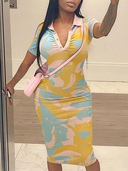New Polo Collar Short Sleeve Print Dress