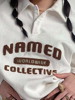 Latest Turndown Collar Letter Embroidery Button Sweatshirt