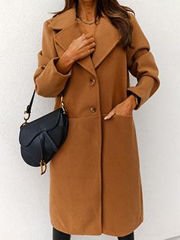 Autumn Pocket Button Up Woolen Long Coat