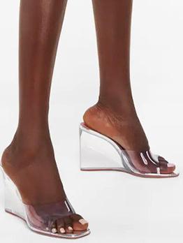 Fashion Square Toe Transparent Wedge Slippers