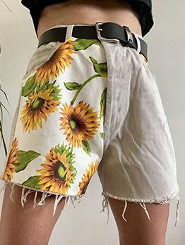 Fashion High Waist Patchwork Print Short Pants