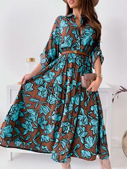 Elegant Flower Printed Smart Waist Maxi Dress