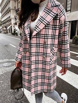 Trendy Plaid Notch Collar Long Sleeve Long Coat