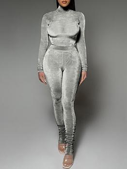 Trendy Velvet High Neck Top Ans Stacked Pant Sets