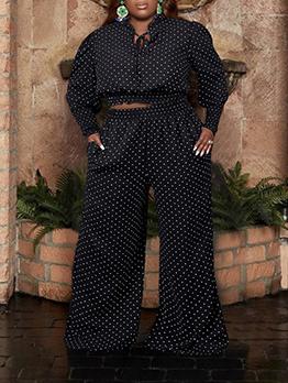 Dot Loose Black Plus Size 2 Piece Sets