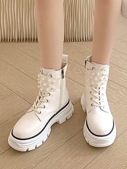 British Style Faux Pearl Chunky Ankle Boots