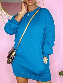 Latest Style Loose Solid Long Sleeve Sweatshirt