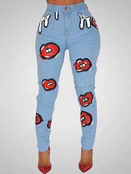 Printing High Waist Skinny Denim Jeans