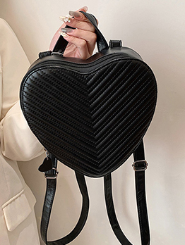 Cute Black Heart Shape Zipper Backpack