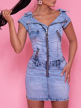 Stylish Solid Zipper Up Short Sleeve Denim Sheath Dress