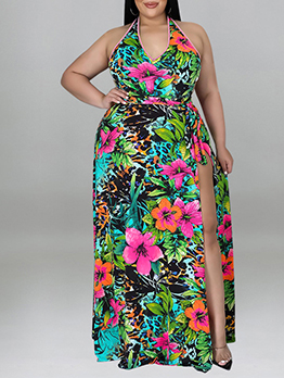 Sexy Print Plus Size Swimsuit Two Pieces Set