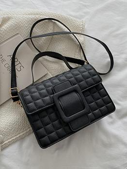 Japanese Street Grid Hasp Shoulder Bag For Women